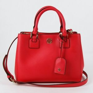 Robinson Square with Keychain Red Pink Leather Bag